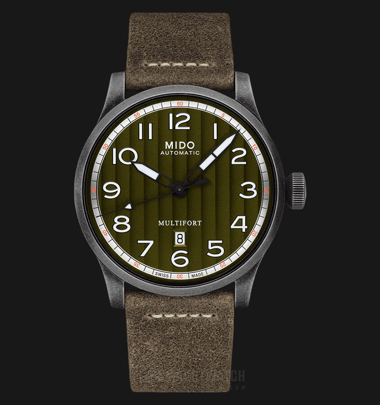 Mido M032.607.36.090.00 Multifort Automatic Green Olive Dial Khaki Leather Strap Machtwatch