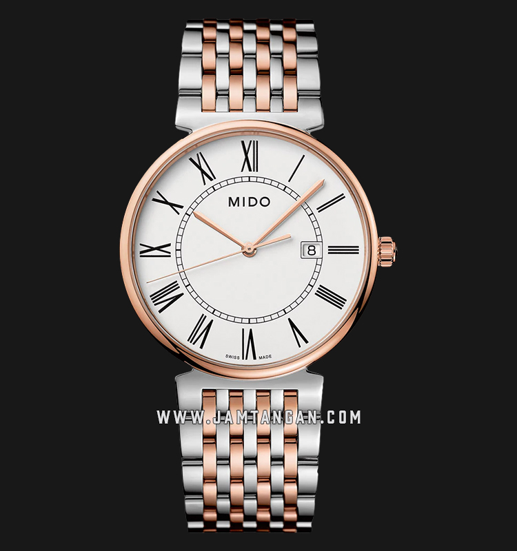 Mido M033.410.22.013.00 Dorada Men White Dial Dual Tone Stainless Steel Strap Machtwatch