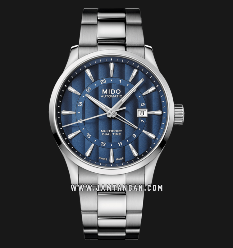 Mido M038.429.11.041.00 Multifort Dual Time Automatic Blue Dial Stainless Steel Strap Machtwatch