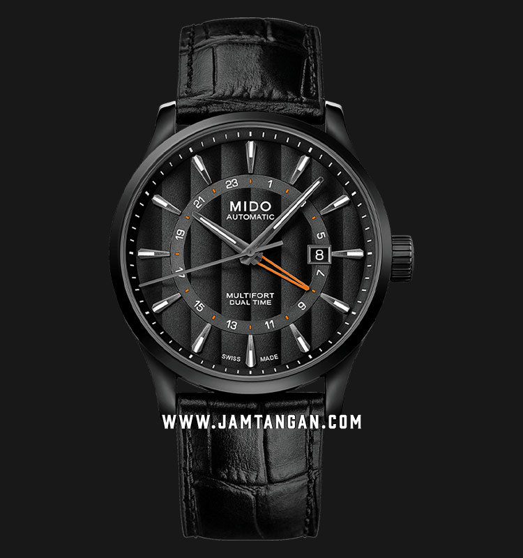 Mido M038.429.36.051.00 Multifort Dual Time Automatic Black Dial Black Leather Strap Machtwatch