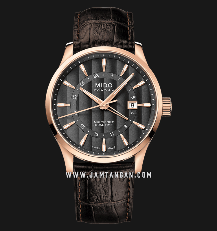 Mido M038.429.36.061.00 Multifort Dual Time Automatic Grey Dial Brown Leather Strap Machtwatch