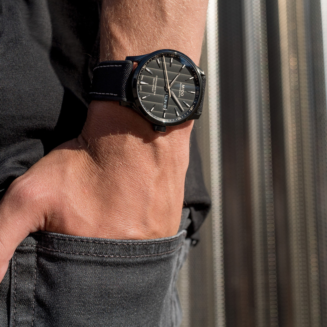 Mido M038.431.37.051.00 Multifort Chronometer Automatic Black Dial Black Leather Strap Machtwatch