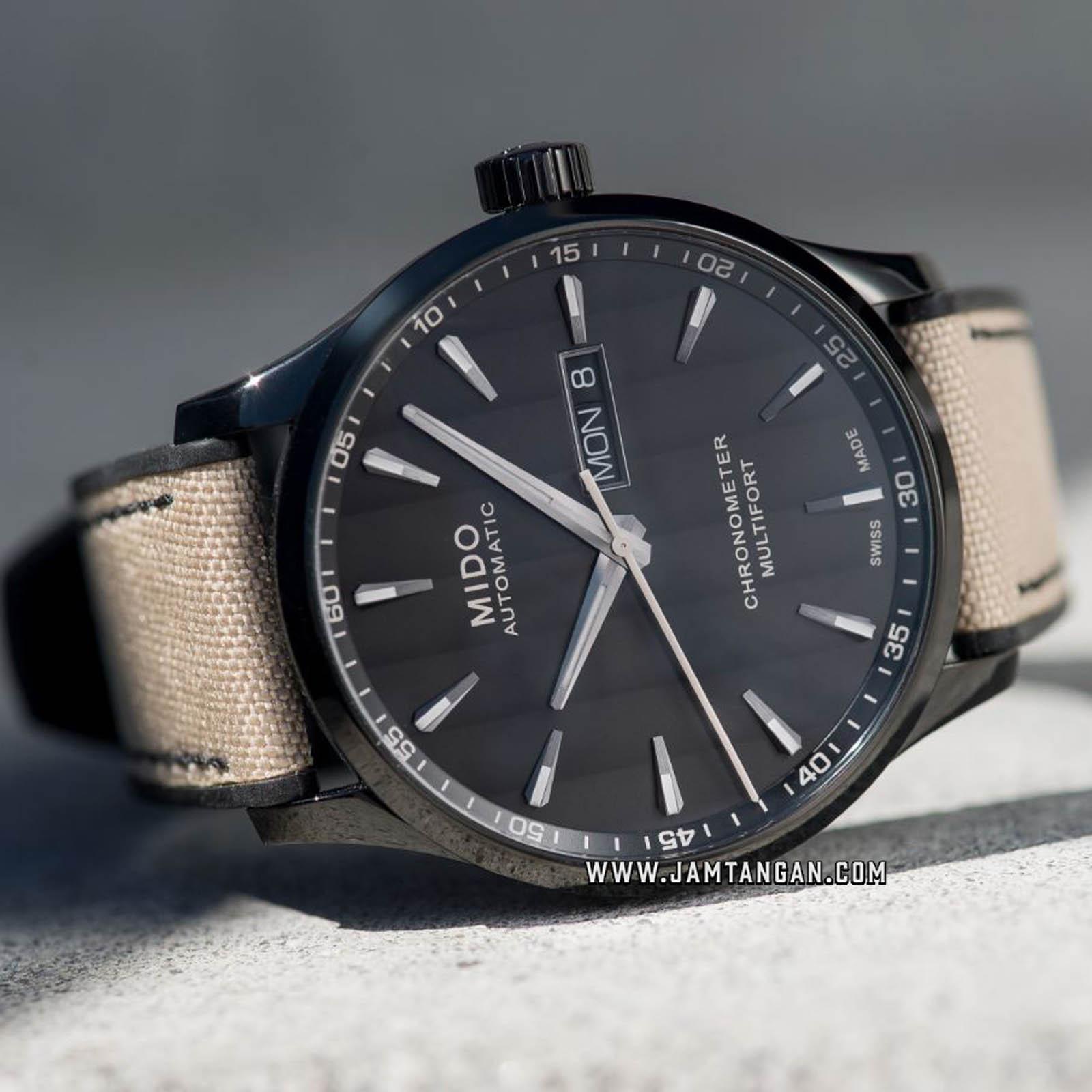 Mido M038.431.37.051.09 Multifort Chronometer Automatic Black Dial Biege Fabric Strap Machtwatch