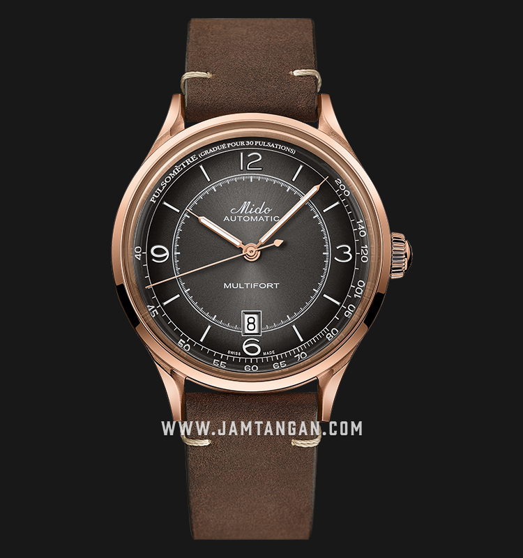 Mido M040.407.36.060.00 Multifort Patrimony Automatic Brown Dial Dark Brown Patina Leather Strap Machtwatch