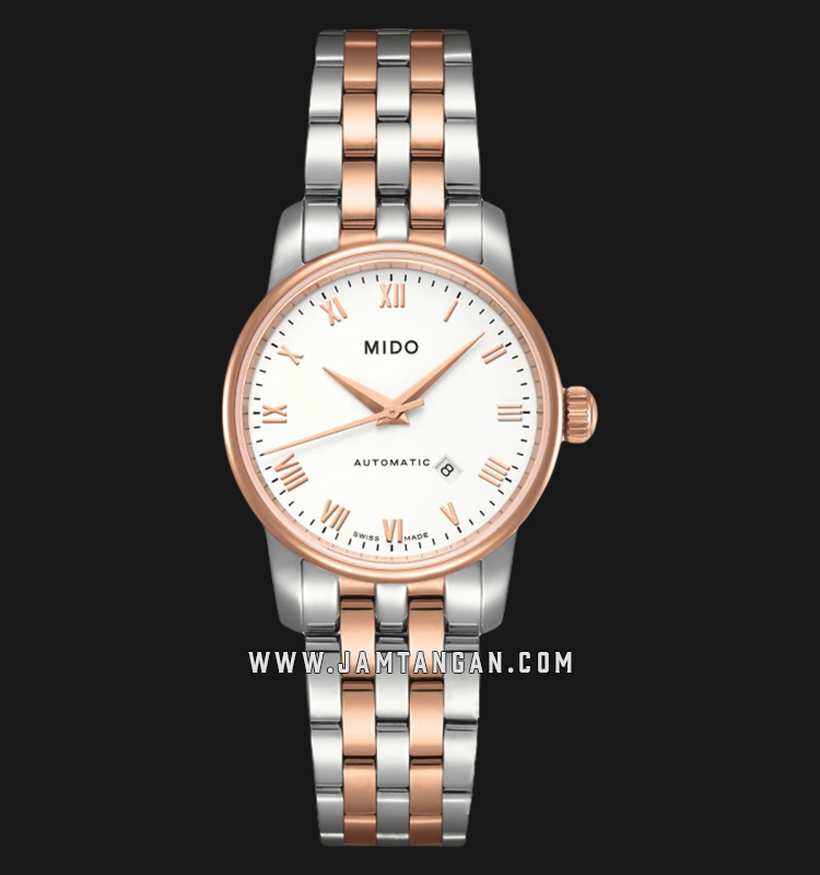 Mido M7600.9.N6.1 Baroncelli Automatic White Dial Dual Tone Stainless Steel Strap Machtwatch
