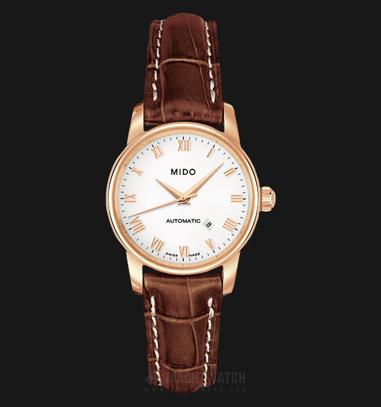 Mido M7600.3.26.8 Baroncelli II Automatic White Dial Brown Leather Strap Machtwatch