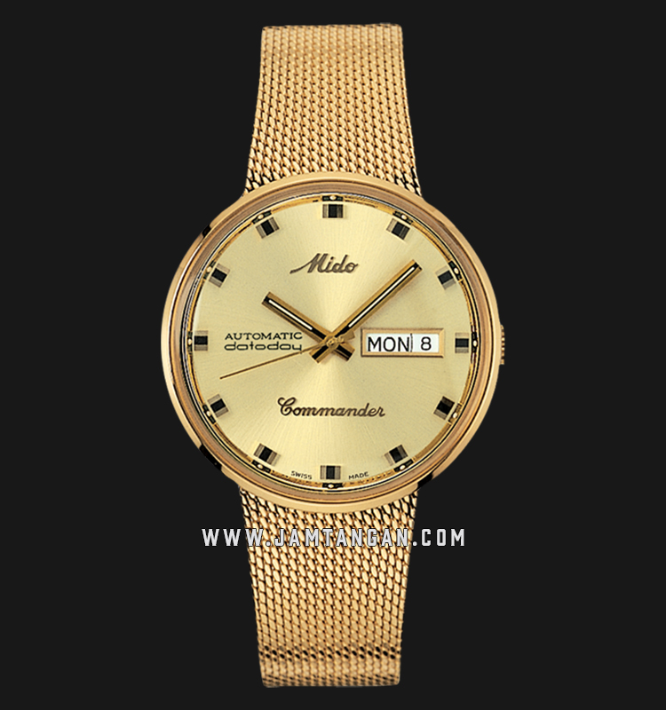 Mido M8429.3.22.13 Commander 1959 Automatic Gold Dial Gold Mesh Strap Machtwatch
