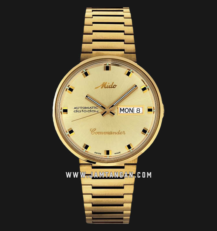 Mido M8429.3.22.23 Commander 1959 Automatic Gold Dial Gold Stainless Steel Strap Machtwatch