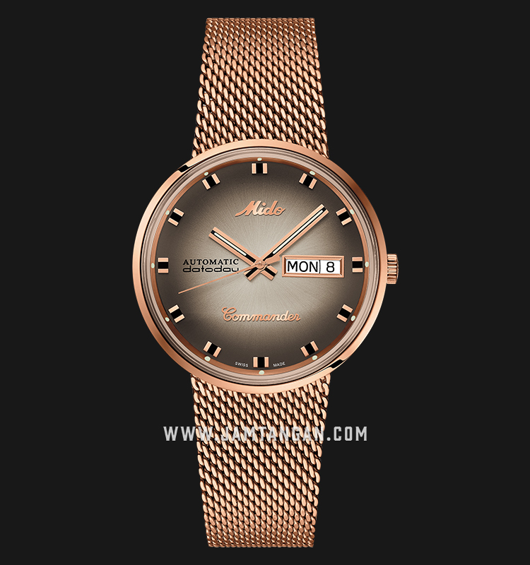 Mido M8429.3.23.11 Commander Shade Automatic Silver Dial Rose Gold Mesh Strap Machtwatch