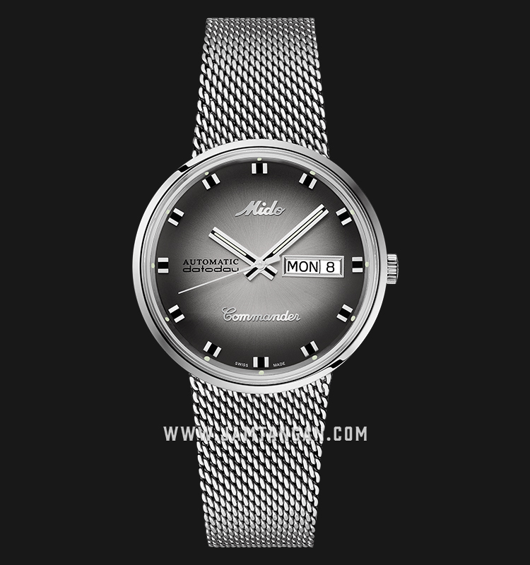 Mido M8429.4.27.11 Commander Shade Automatic Silver Dial Mesh Strap Machtwatch
