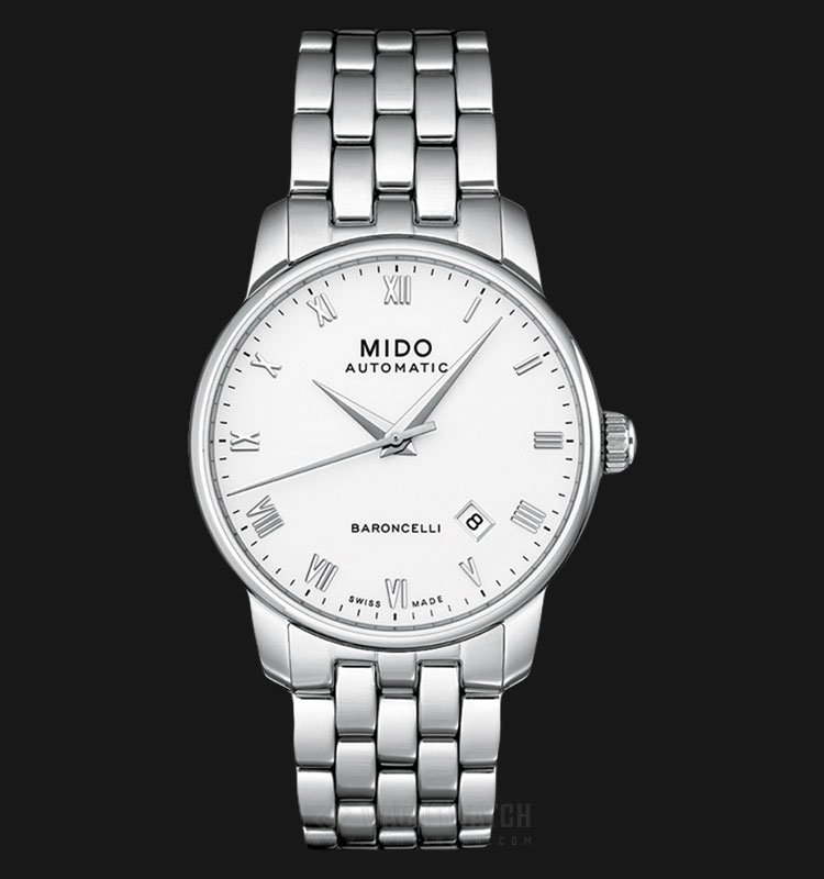 Mido M8600.4.26.1 Baroncelli II Automatic White Dial Stainless Steel Strap Machtwatch