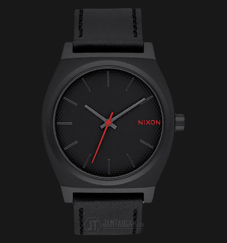 NIXON A0452298 Time Teller Silver Dial Black Leather Strap Watch Machtwatch