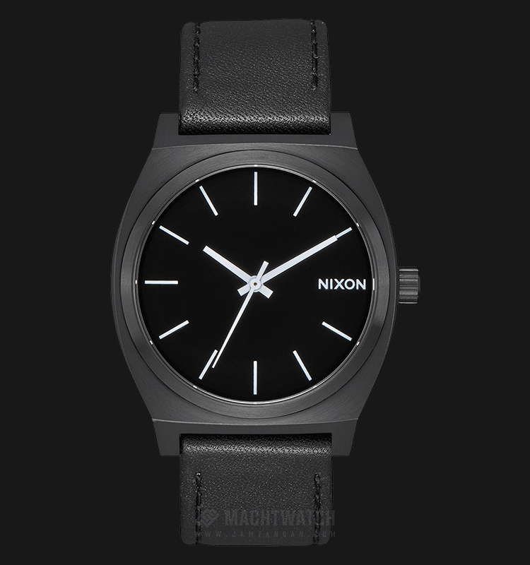 NIXON A045756 Time Teller Men Black Dial Black Leather Strap Machtwatch