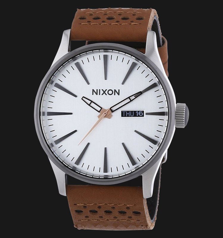NIXON A1051752 Sentry Leather Saddle Silver Machtwatch