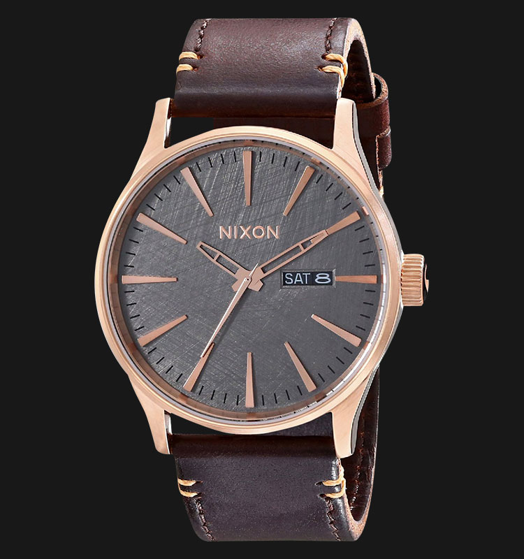 NIXON A1052001 Sentry Leather Metal Brown Machtwatch