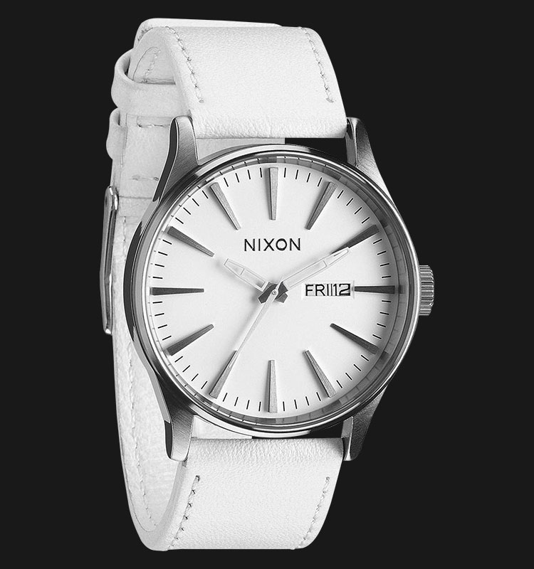 NIXON A105391 Sentry Leather Silver White Machtwatch