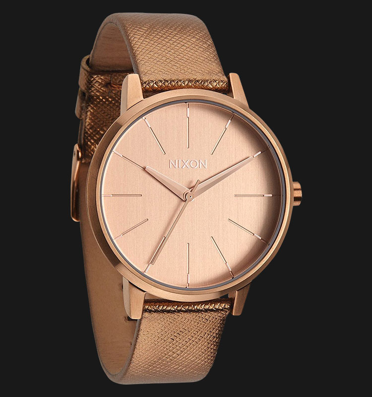NIXON A1081923 Kensington Leather Rose Gold Shimmer Machtwatch
