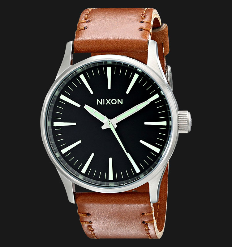 NIXON A3771037 Sentry 38 Leather Black Saddle Machtwatch