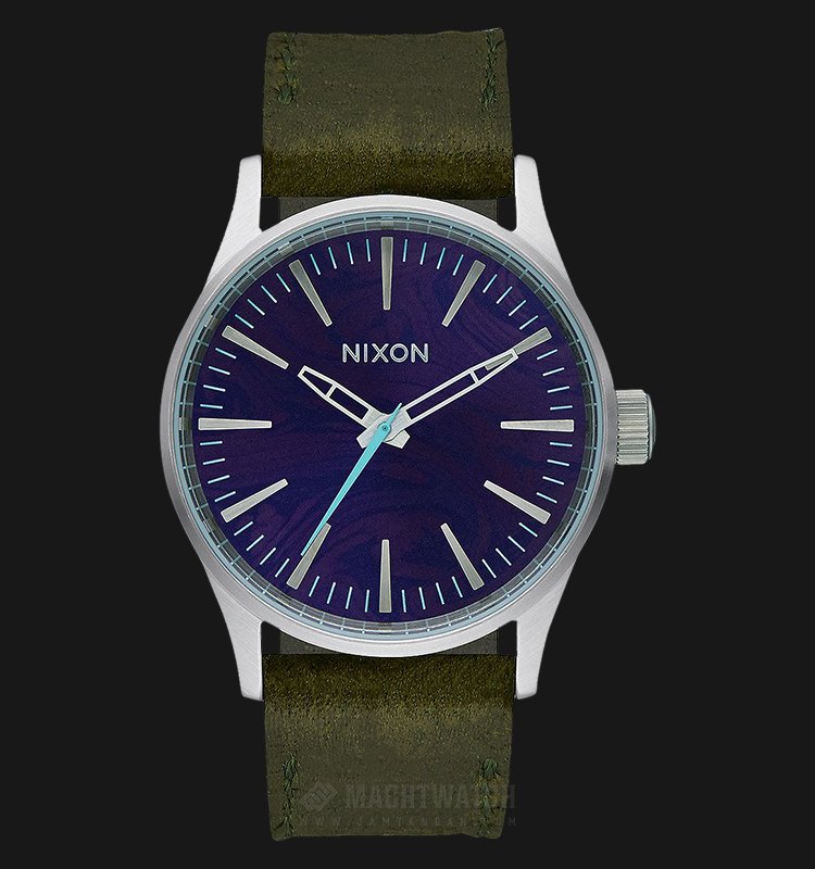NIXON A3772302 Sentry 38 Men Purple Dial Green Olive Leather Strap Machtwatch