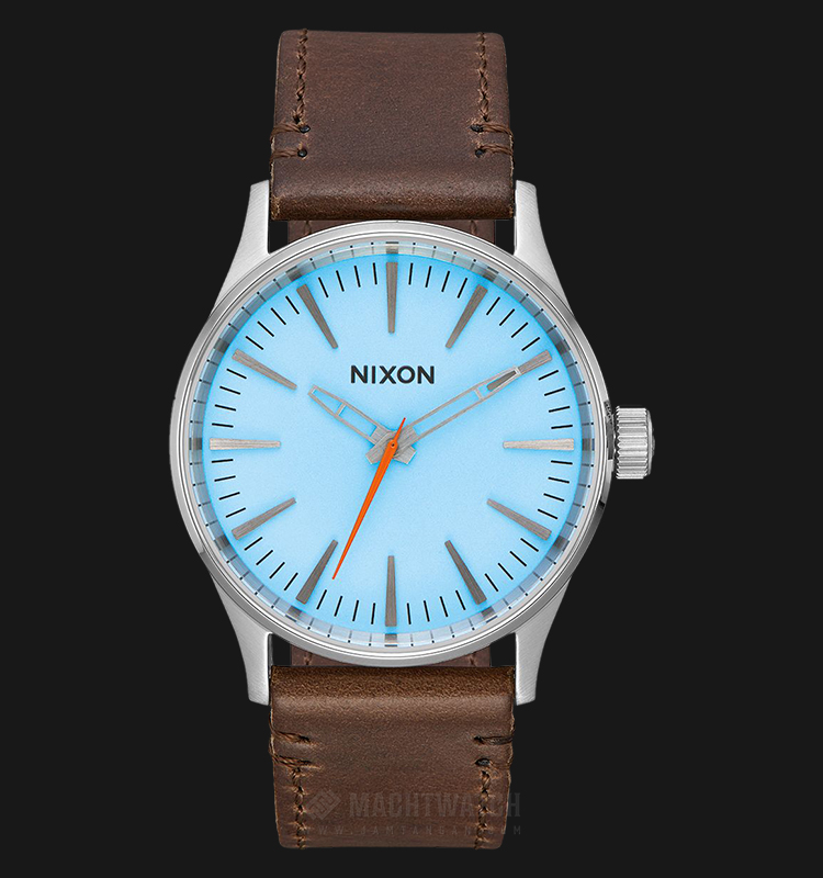 NIXON A3772547 Sentry 38 Men Sky Blue Dial Brown Leather Strap Machtwatch