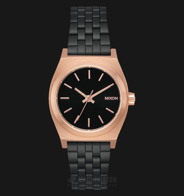 NIXON A3992481 Small Time Teller Ladies Black Dial Black Stainless Steel Strap Machtwatch