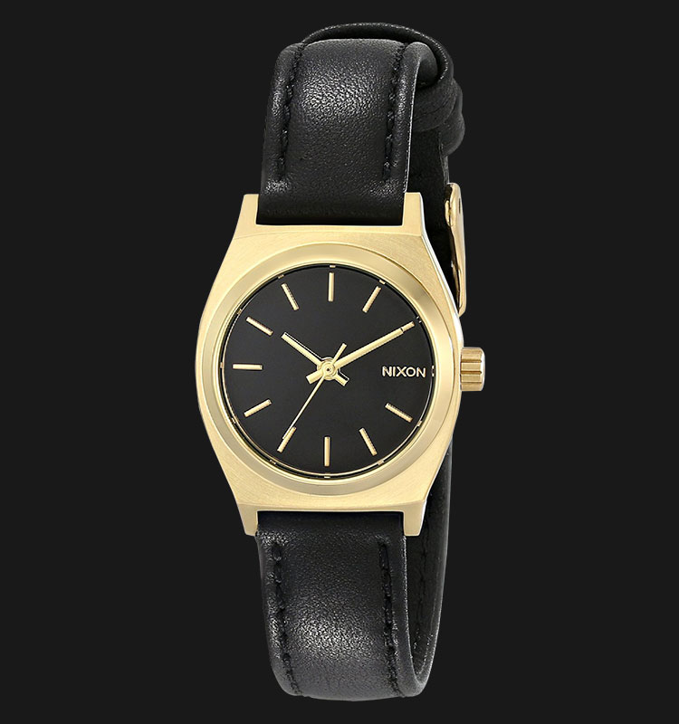 NIXON A509010 Small Time Teller Leather Black Gold Machtwatch