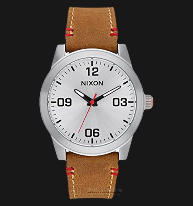 NIXON A933747 The GI Silver Dial Leather Strap Watch Machtwatch