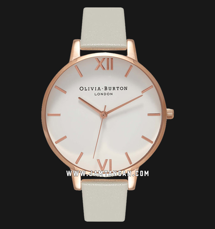 Olivia Burton OB15BDW02 Big Dial Ladies White Dial Grey Leather Strap Machtwatch