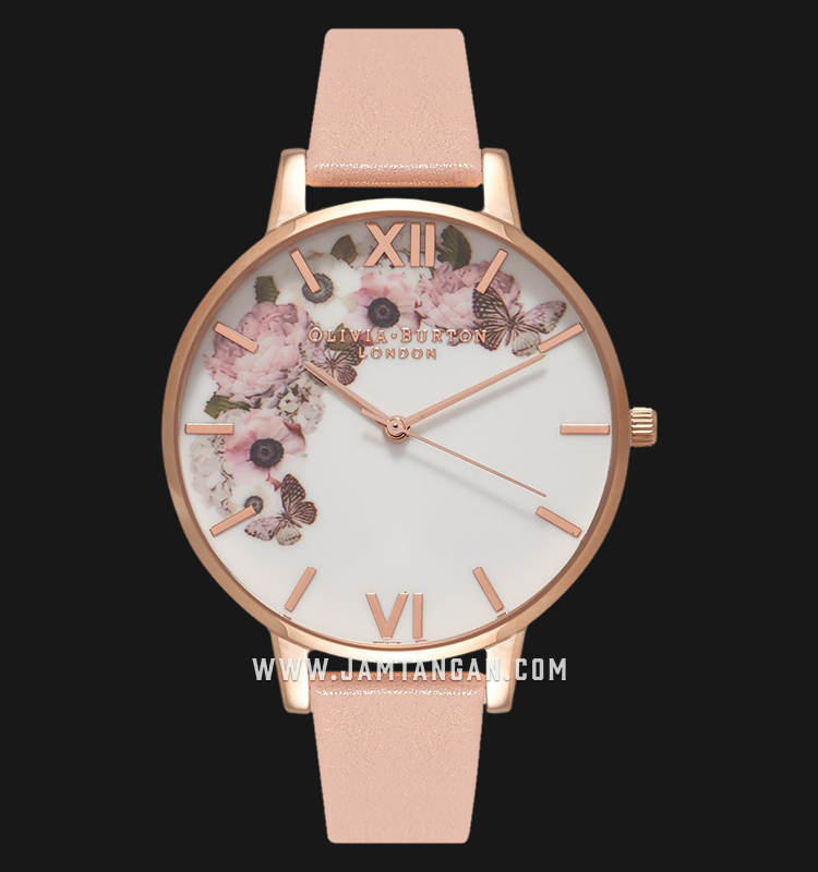 Olivia Burton OB15WG10 Signature Floral Dial Pink Leather Strap Machtwatch