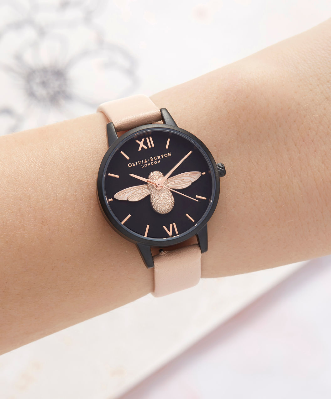Olivia Burton OB16AD40 After Dark 3D Bee Nude Peach Ladies Dual Color Dial Biege Leather Strap Machtwatch
