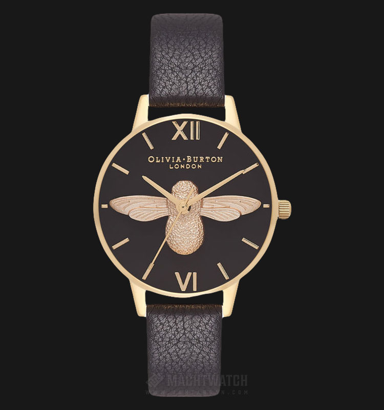 Olivia Burton OB16AM118 3D Bee Ladies Dual Tone Dial Black Leather Strap Machtwatch