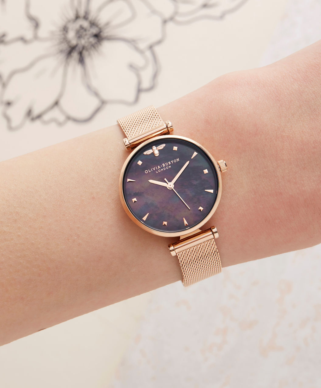 Olivia Burton OB16AM145 3D Queen Bee Ladies Mother of Pearl Dial Rose Gold Stainless Steel Machtwatch