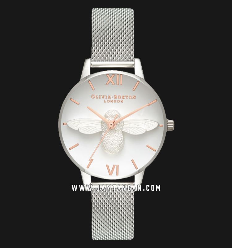Olivia Burton OB16AM146 3D Bee Ladies White Dial Stainless Steel Machtwatch