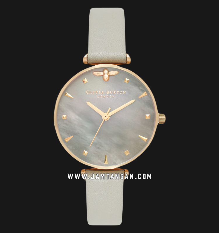 Olivia Burton OB16AM154 Queen Bee Ladies Grey Mother of Pearl Dial Grey Leather Strap Machtwatch