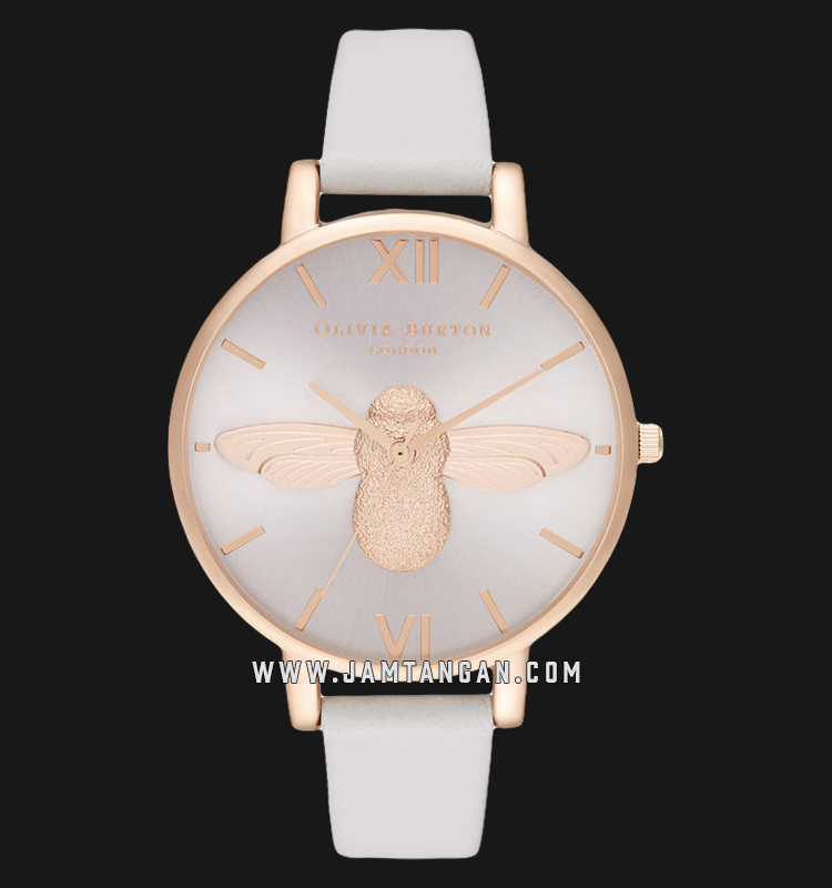 Olivia Burton OB16AM158 3D Bee Big Blush Sunray Dial Blush Leather Strap Machtwatch