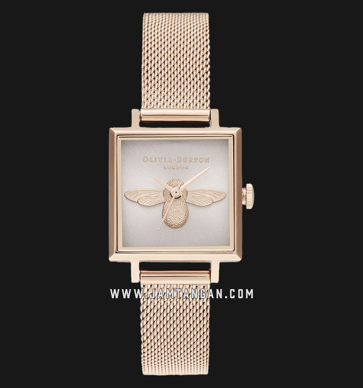 Olivia Burton OB16AM164 3D Bee Square Blush Sunray Dial Rose Gold Stainless Steel Machtwatch