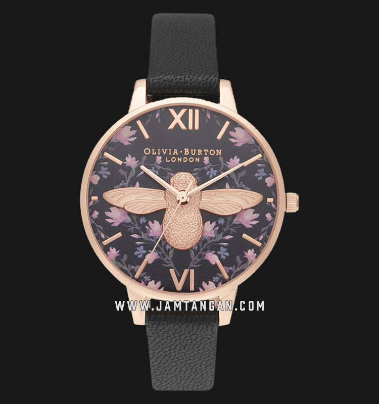 Olivia Burton OB16AM165 Meant to Bee Demi Black Dial Black Leather Strap Machtwatch