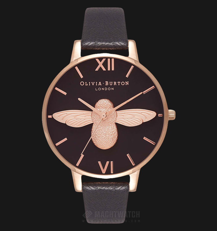 Olivia Burton OB16AM98 3D Bee Ladies Dual Tone Dial Brown Leather Strap Machtwatch