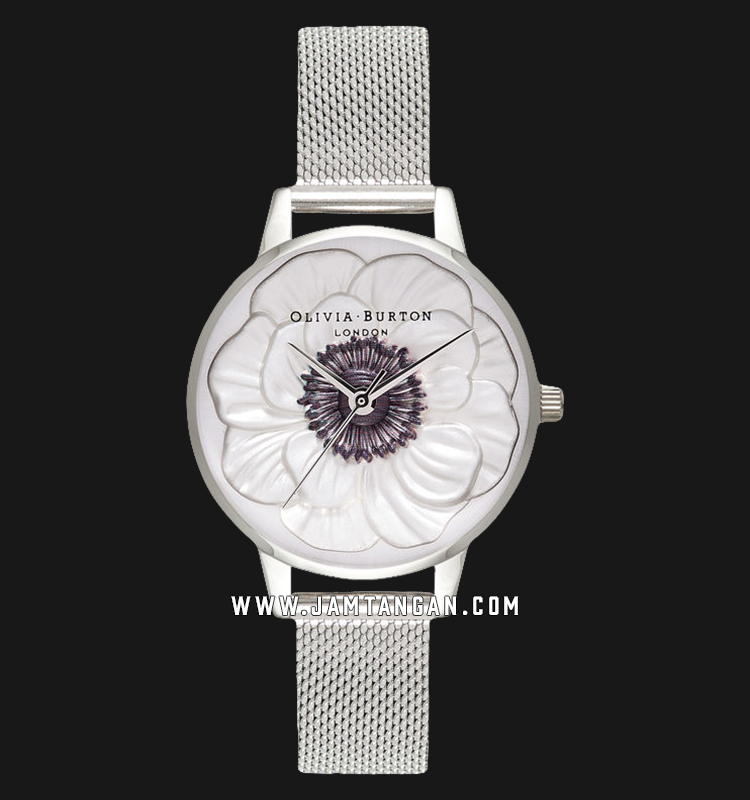 Olivia Burton OB16AN01 3D Anemone Ladies Silver Dial Stainless Steel Machtwatch