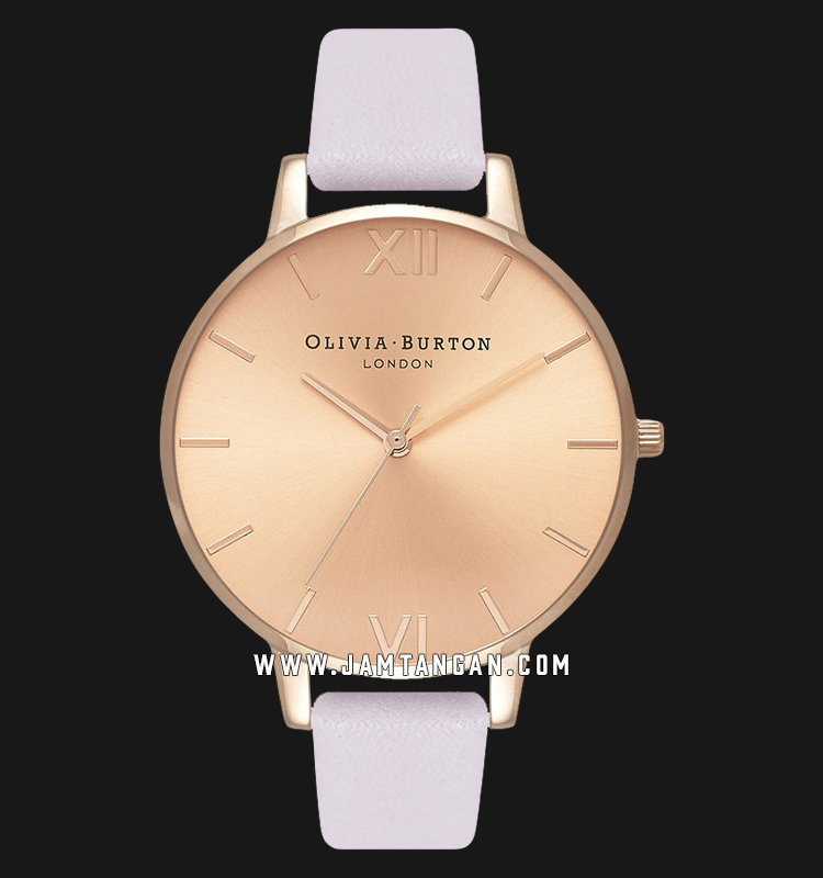 Olivia Burton OB16BD110 Sunray Dial Blossom Ladies Rose Gold Sunray Dial Light Pink Leather Strap Machtwatch