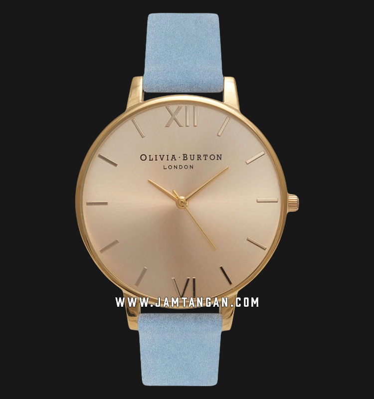 Olivia Burton OB16BD111 Sunray Dial Chalk Ladies Gold Sunray Dial Blue Suede Leather Strap Machtwatch