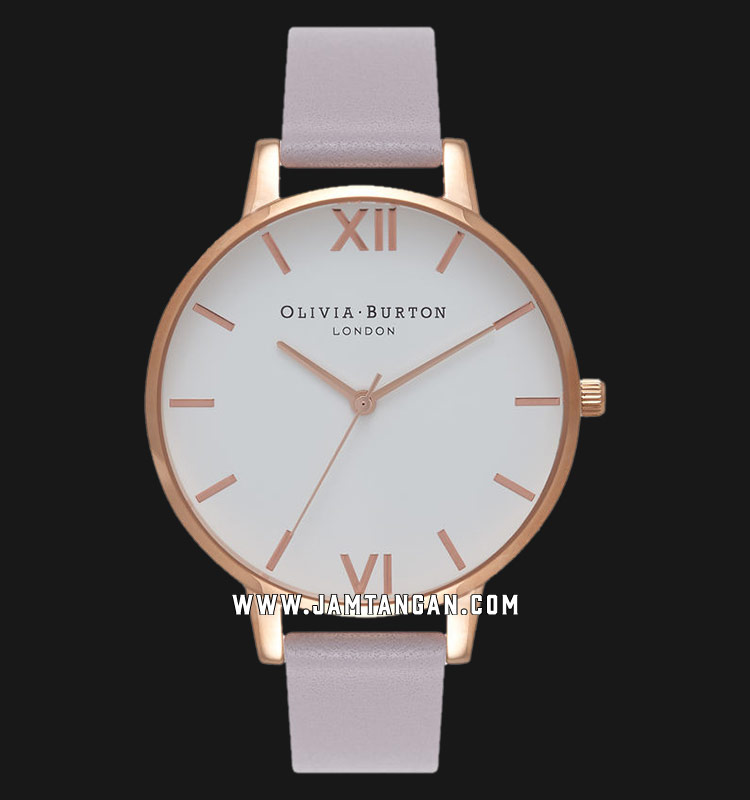 Olivia Burton OB16BDW16 White Dial Grey Leather Strap Machtwatch