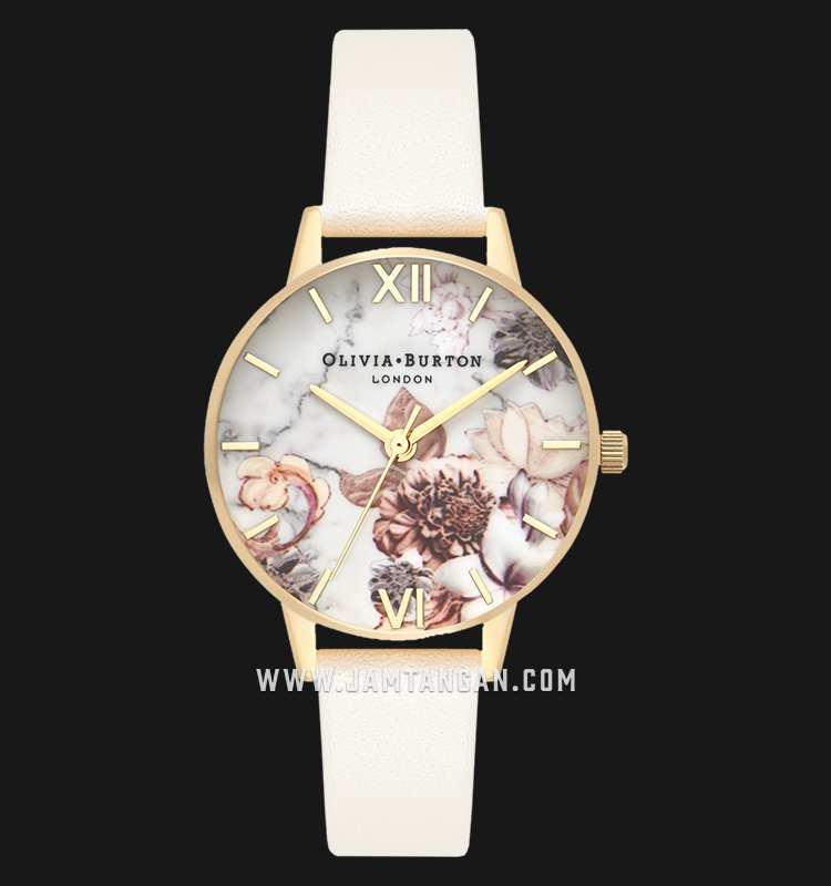Olivia Burton OB16CS15 Marble Florals Dial Light Pink Leather Strap Machtwatch