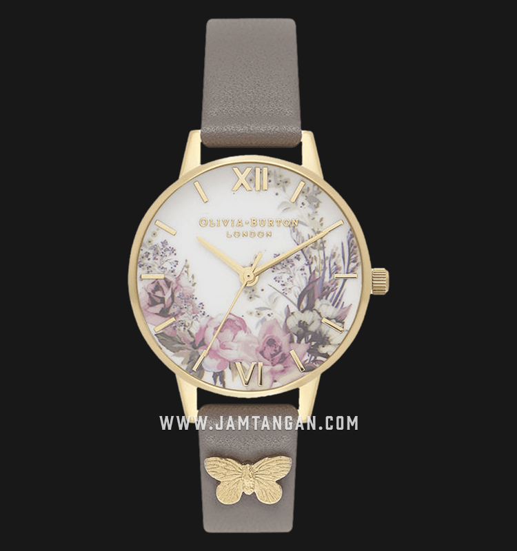 Olivia Burton OB16EG109 Enchanted Garden London Florals Dial Grey Leather Strap Machtwatch