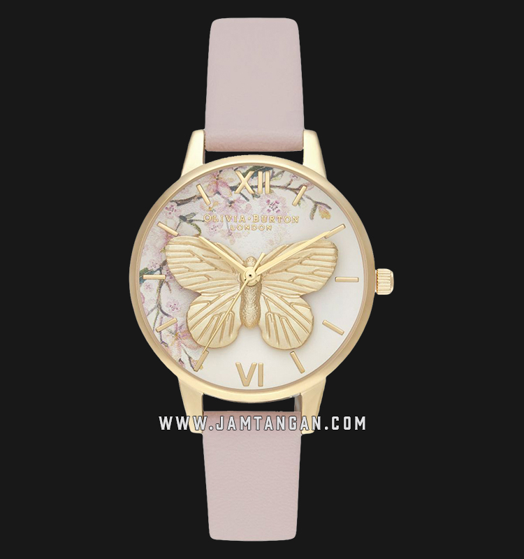 Olivia Burton OB16EG125 Pretty Blossom 3D Butterfly Vegan Dual Motif Dial Light Pink Leather Strap Machtwatch