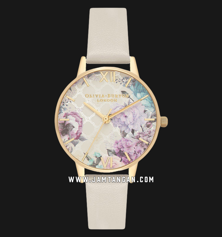 Olivia Burton OB16EG99 Glasshouse Nude Ladies Multicolor Dial Light Grey Leather Strap Machtwatch