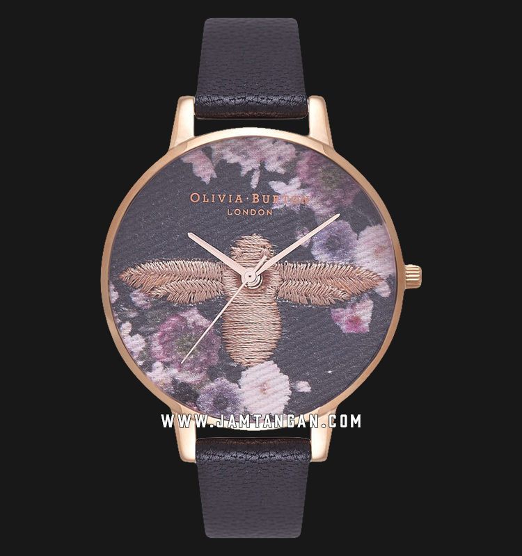 Olivia Burton OB16EM02 Embroidered Ladies Multicolor Dial Black Leather Strap Machtwatch