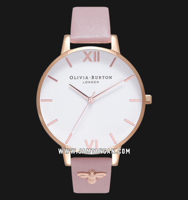 Olivia Burton OB16ES15 White Dial 3D Bee Embellished Pink Leather Strap Machtwatch