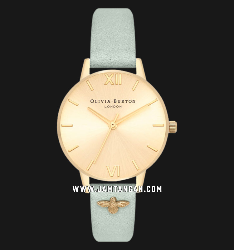 Olivia Burton OB16ES17 Gold Sunray Dial 3D Butterfly Embellished Green Leather Strap Machtwatch