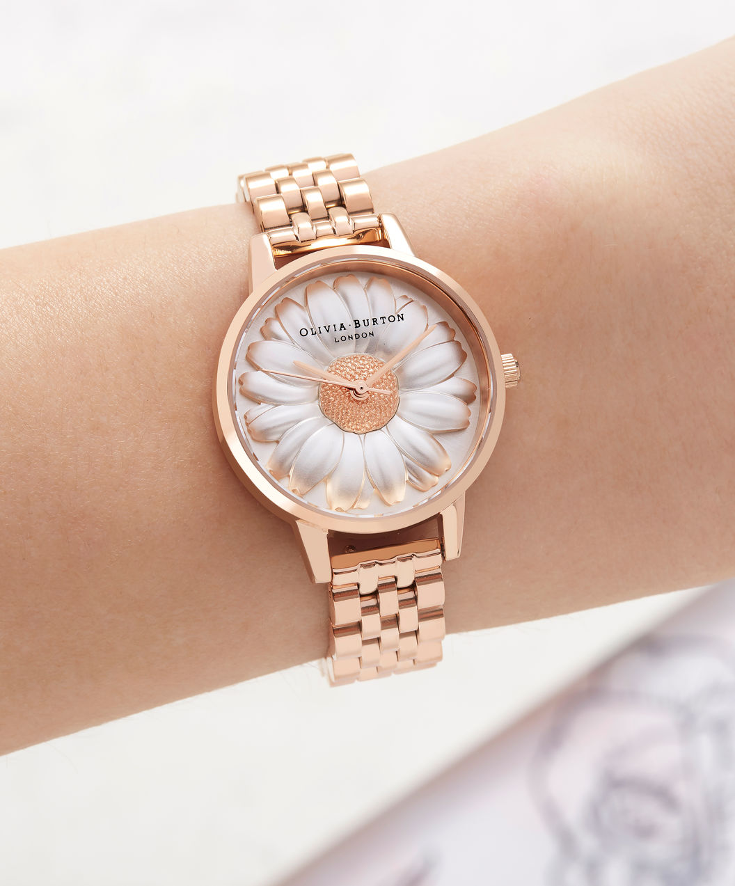 Olivia Burton OB16FS102 3D Daisy Ladies Dual Tone Dial Rose Gold Stainless Steel Machtwatch